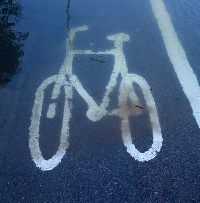 flooded cycle path