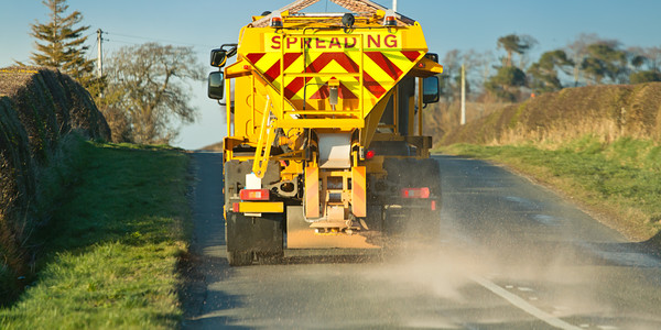 gritter lorry driving away