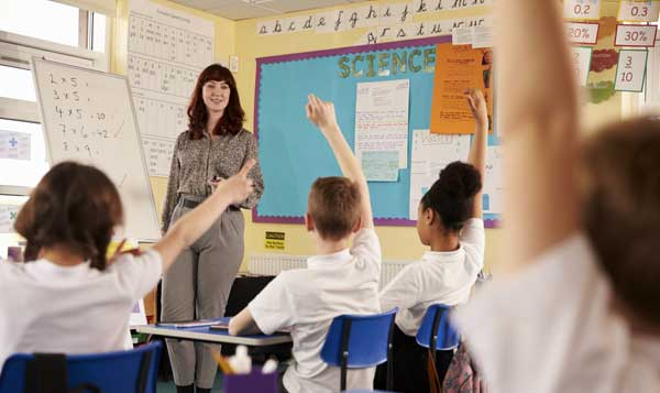 Teacher in a classroom with pupils