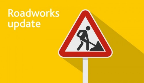Oxford Road, Banbury, evening roadworks begin